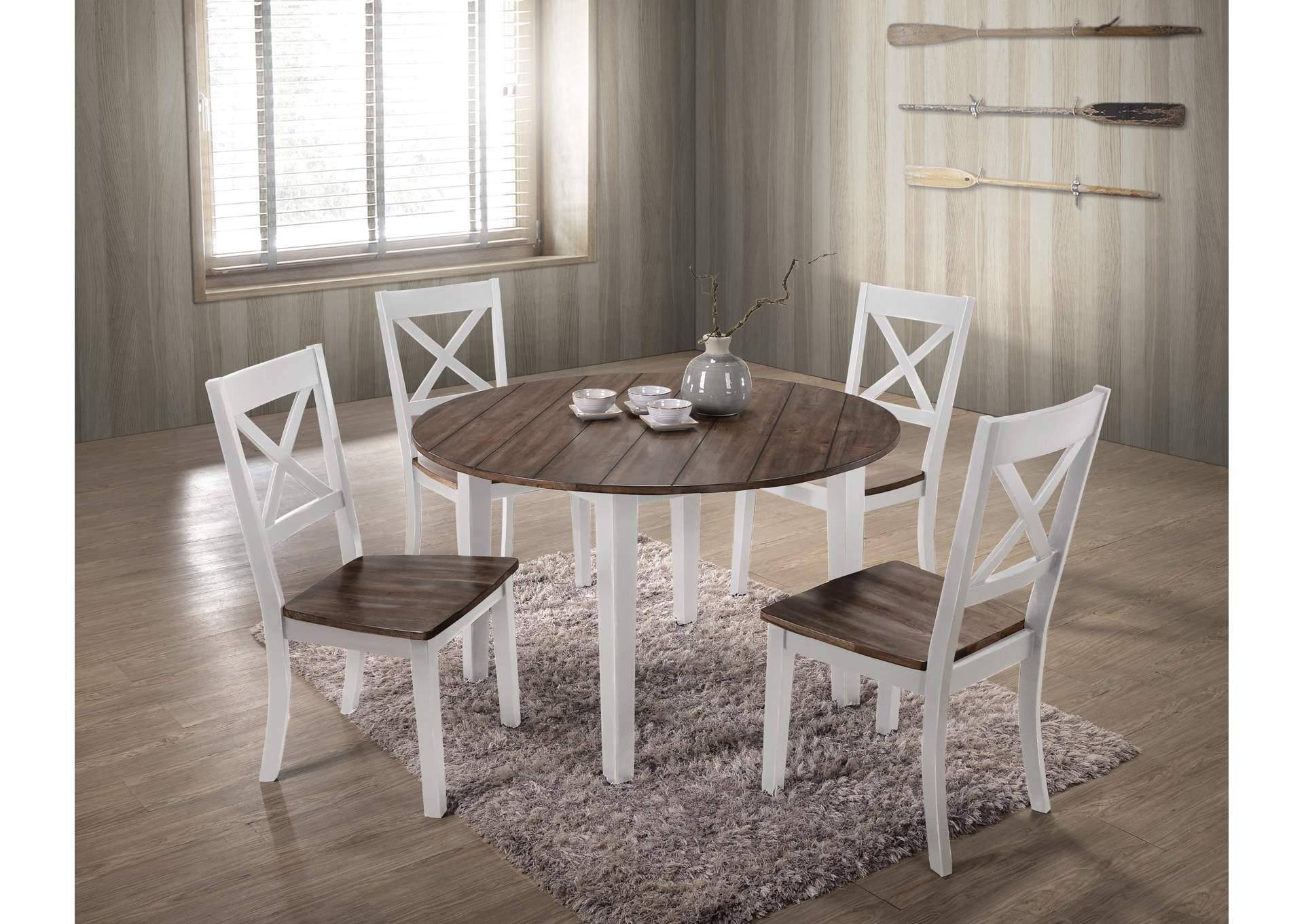 Silver Dining Table And Chairs, 5057 A La Carte White 5 Piece Drop Leaf Dining Set